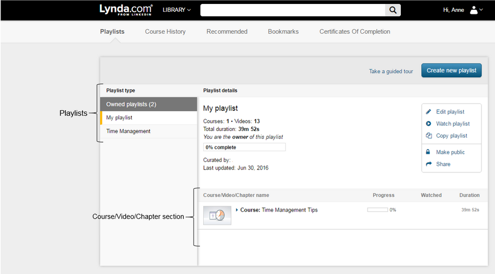 Lynda Playlists and courses.PNG