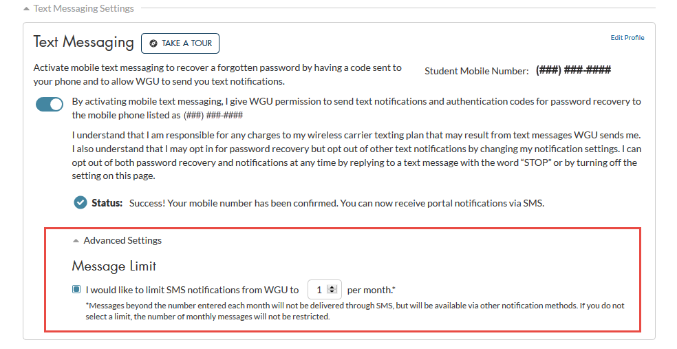 To limit text messages from WGU per month.png